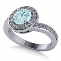 Round Aquamarine Halo Engagement Ring 14k White Gold (1.40ct)
