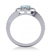 Round Aquamarine Halo Engagement Ring 14k White Gold (1.40ct)
