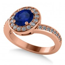 Round Blue Sapphire Halo Engagement Ring 14k Rose Gold (1.40ct)