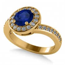 Round Blue Sapphire Halo Engagement Ring 14k Yellow Gold (1.40ct)