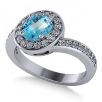 Round Blue Topaz Halo Engagement Ring 14k White Gold (1.40ct)