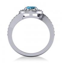 Round Blue Topaz Halo Engagement Ring 14k White Gold (1.40ct)