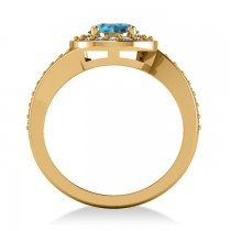 Round Blue Topaz Halo Engagement Ring 14k Yellow Gold (1.40ct)