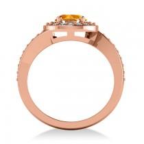 Round Citrine Halo Engagement Ring 14k Rose Gold (1.40ct)