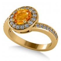 Round Citrine Halo Engagement Ring 14k Yellow Gold (1.40ct)