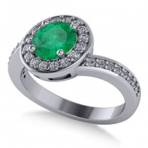 Round Emerald Halo Engagement Ring 14k White Gold (1.40ct)