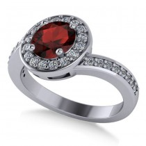 Round Garnet Halo Engagement Ring 14k White Gold (1.40ct)