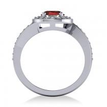 Round Garnet Halo Engagement Ring 14k White Gold (1.40ct)