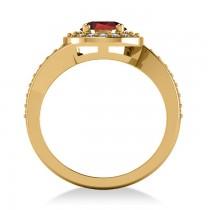 Round Garnet Halo Engagement Ring 14k Yellow Gold (1.40ct)