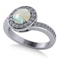 Round Opal Halo Engagement Ring 14k White Gold (1.40ct)