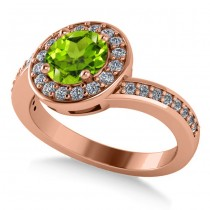 Round Peridot Halo Engagement Ring 14k Rose Gold (1.40ct)