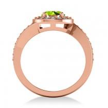 Round Peridot Halo Engagement Ring 14k Rose Gold (1.40ct)