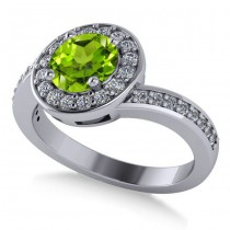 Round Peridot Halo Engagement Ring 14k White Gold (1.40ct)