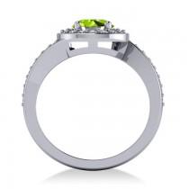 Round Peridot Halo Engagement Ring 14k White Gold (1.40ct)
