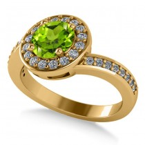 Round Peridot Halo Engagement Ring 14k Yellow Gold (1.40ct)