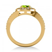 Round Peridot Halo Engagement Ring 14k Yellow Gold (1.40ct)