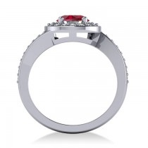 Round Ruby Halo Engagement Ring 14k White Gold (1.40ct)