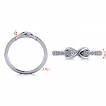 Infinity Diamond Accented Fashion Ring Band 14k White Gold (0.24ct)