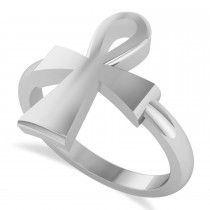 Ankh Egyptian Cross Ring 14K White Gold