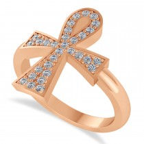 Diamond Ankh Egyptian Cross Ring 14K Rose Gold (0.31ct)