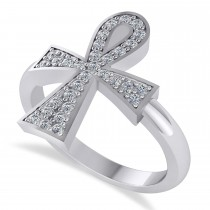 Diamond Ankh Egyptian Cross Ring 14K White Gold (0.31ct)