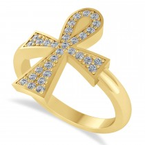 Diamond Ankh Egyptian Cross Ring 14K Yellow Gold (0.31ct)