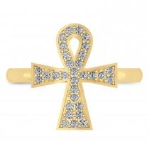 Diamond Ankh Egyptian Cross Ring 14K Yellow Gold (0.31ct)|escape