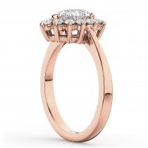 Halo Pear Shaped Diamond Engagement Ring 14k Rose Gold (1.12ct)