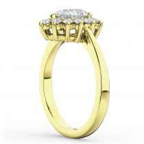 Halo Pear Shaped Diamond Engagement Ring 14k Yellow Gold (1.12ct)