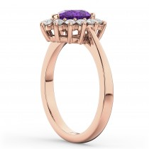 Halo Amethyst & Diamond Floral Pear Shaped Fashion Ring 14k Rose Gold (1.07ct)