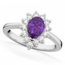 Halo Amethyst & Diamond Floral Pear Shaped Fashion Ring 14k White Gold (1.07ct)