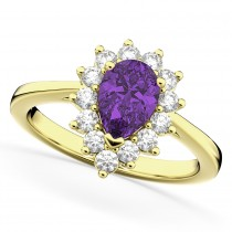 Halo Amethyst & Diamond Floral Pear Shaped Fashion Ring 14k Yellow Gold (1.07ct)