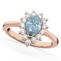 Halo Aquamarine & Diamond Floral Pear Shaped Fashion Ring 14k Rose Gold (1.07ct)