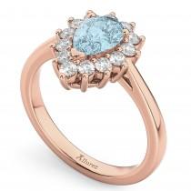 Halo Aquamarine & Diamond Floral Pear Shaped Fashion Ring 14k Rose Gold (1.07ct)