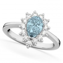 Halo Aquamarine & Diamond Floral Pear Shaped Fashion Ring 14k White Gold (1.07ct)