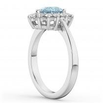 Halo Aquamarine & Diamond Floral Pear Shaped Fashion Ring 14k White Gold (1.07ct)