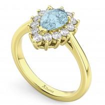 Halo Aquamarine & Diamond Floral Pear Shaped Fashion Ring 14k Yellow Gold (1.07ct)