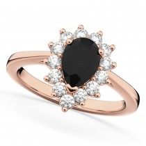 Halo Pear Shape Black Diamond Engagement Ring 14k Rose Gold (1.12ct)