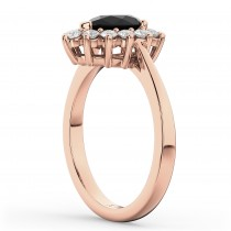Halo Black Diamond & Diamond Floral Pear Shaped Fashion Ring 14k Rose Gold (1.12ct)