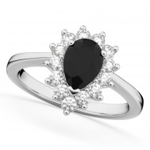 Halo Pear Shape Black Diamond Engagement Ring 14k White Gold (1.12ct)