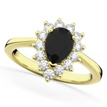 Halo Pear Shape Black Diamond Engagement Ring 14k Yellow Gold (1.12ct)