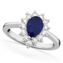 Halo Blue Sapphire & Diamond Floral Pear Shaped Fashion Ring 14k White Gold (1.27ct)