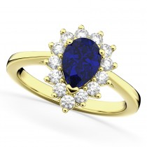 Halo Blue Sapphire & Diamond Floral Pear Shaped Fashion Ring 14k Yellow Gold (1.27ct)