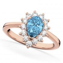 Halo Blue Topaz & Diamond Floral Pear Shaped Fashion Ring 14k Rose Gold (1.42ct)