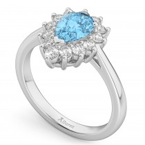 Halo Blue Topaz & Diamond Floral Pear Shaped Fashion Ring 14k White Gold (1.42ct)