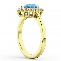 Halo Blue Topaz & Diamond Floral Pear Shaped Fashion Ring 14k Yellow Gold (1.42ct)
