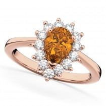 Halo Citrine & Diamond Floral Pear Shaped Fashion Ring 14k Rose Gold (1.07ct)