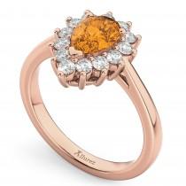Halo Citrine & Diamond Floral Pear Shaped Fashion Ring 14k Rose Gold (1.07ct)