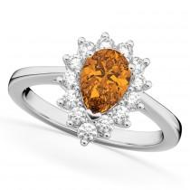 Halo Citrine & Diamond Floral Pear Shaped Fashion Ring 14k White Gold (1.07ct)