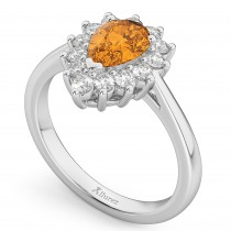 Halo Citrine & Diamond Floral Pear Shaped Fashion Ring 14k White Gold (1.07ct)